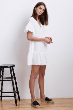 Noor Woven Linen Ruffle Tiered Dress in White