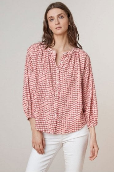 Oprah Printed Cotton Button Up Top in Lattice