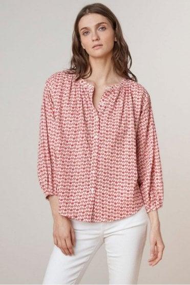 Oprah Printed Cotton Button Up Top in Lattice