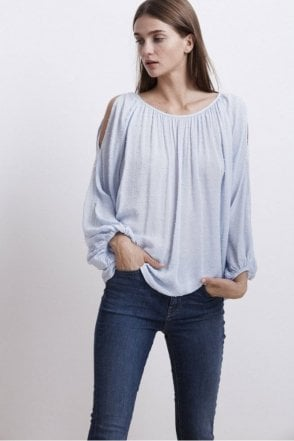 Pearl Swiss Dot Cold Shoulder Top in Billow