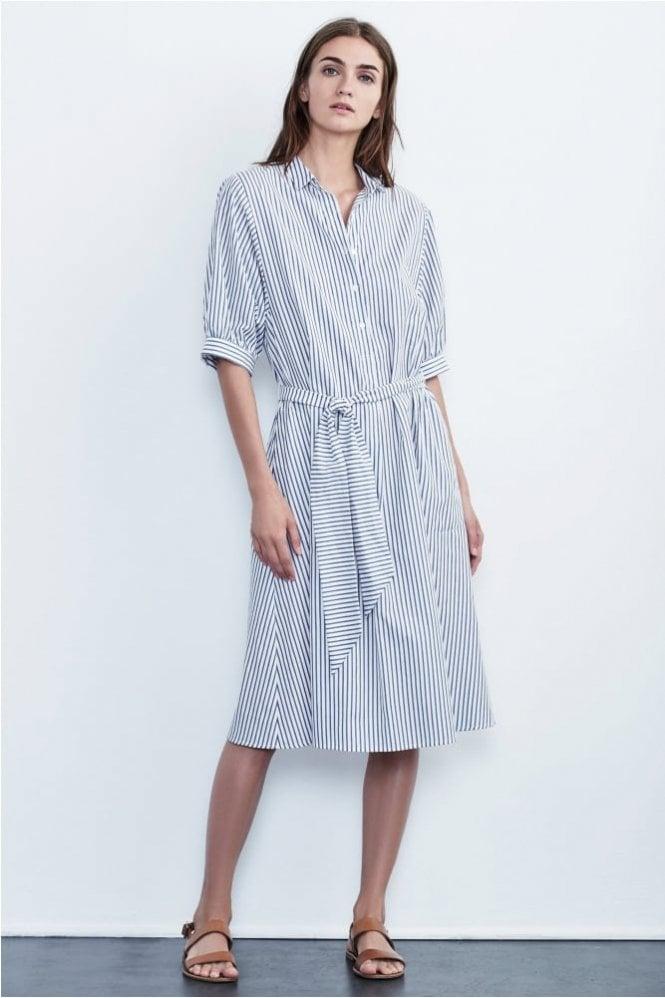 Velvet by Graham & Spencer Penelope Cotton Stripe Shirt Dress in Blue