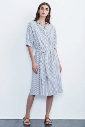 Penelope Cotton Stripe Shirt Dress in Blue