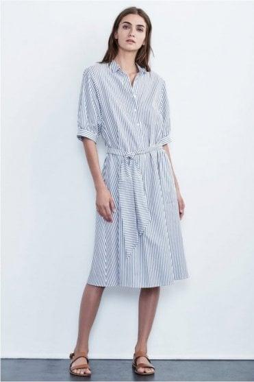 Penelope Cotton Stripe Shirt Dress in Blue
