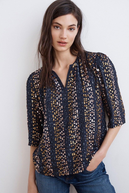b69990d1e2dd6f Velvet by Graham and Spencer Prima Stripe Sequin 1 2 Sleeve Top