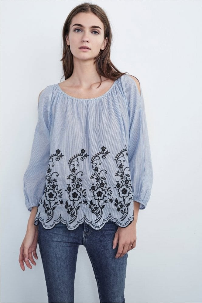 Velvet by Graham & Spencer Reagan Embroidered Stripe Cotton Peasant Top in Blue