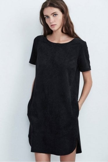 Reya Faux Suded Short Sleeve Dress in Black