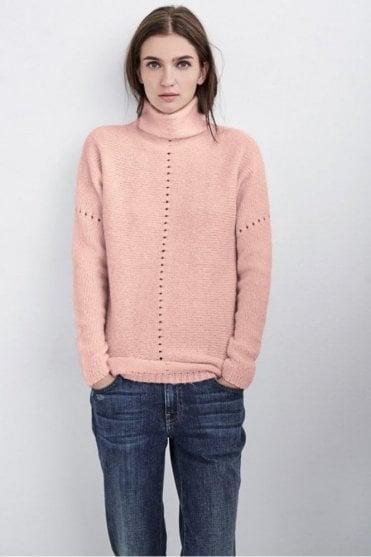 Rhianna Mix Stitch Mock Neck Sweater in Blush
