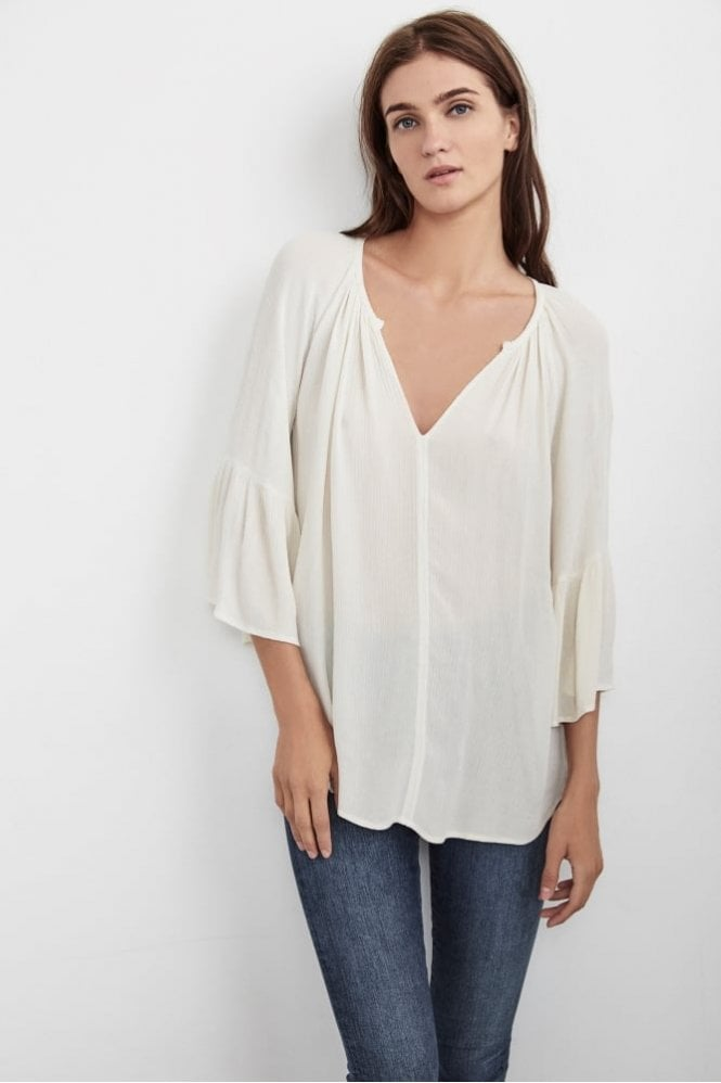 Velvet by Graham & Spencer Rooney Top in Crinkle Gauze Coconut