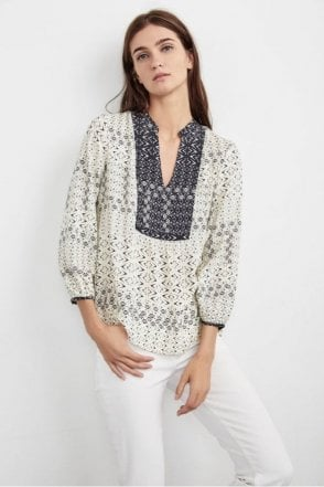 Rubydelle Peasant Top in Corsica Print Cream