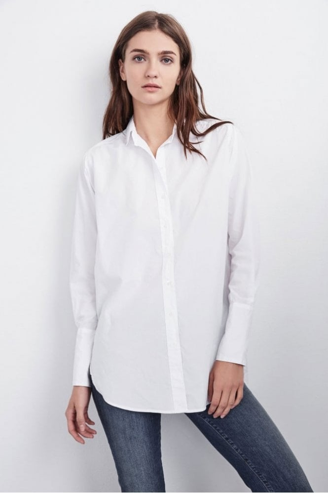 Velvet by Graham & Spencer Samana Cotton Poplin Button Up in White