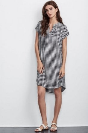 Shelley Gingham Shirt Dress in Black