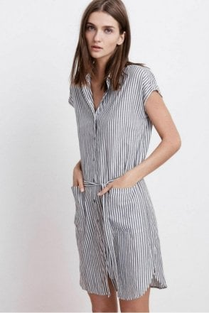 Sonay Cotton Stripe Button Up Shirt Dress in Charcoal