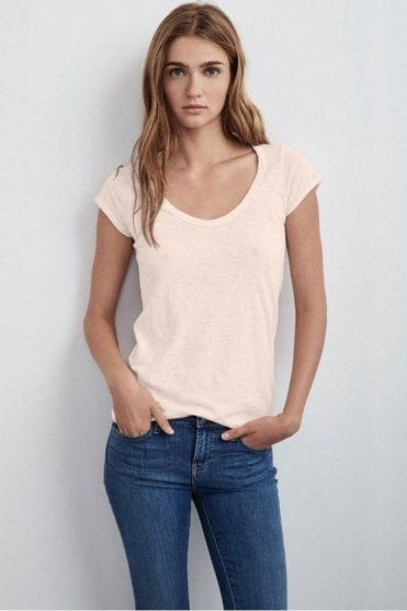 Sumette Cotton Slub Tee in Candy