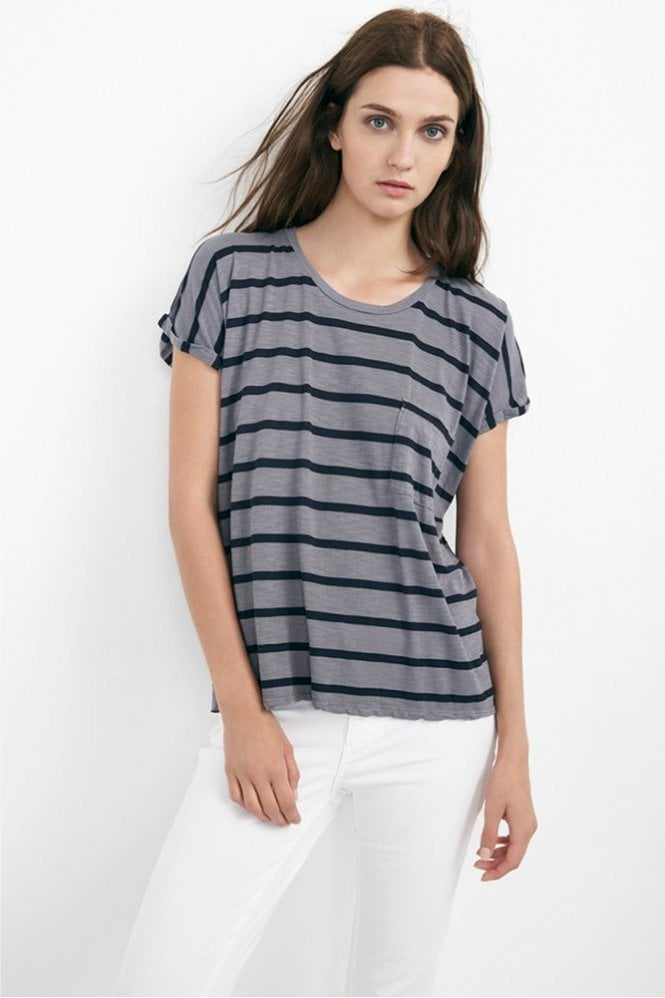 Velvet by Graham & Spencer Tiki Modal Cotton Stripe Cap Sleeve Tee in Ash Grey and Black