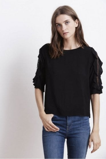 Wrenley Lace Sleeve Challis Top in Black