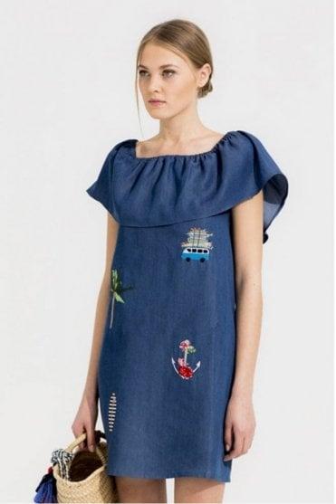 Amelie Embellished Denim Madison Dress