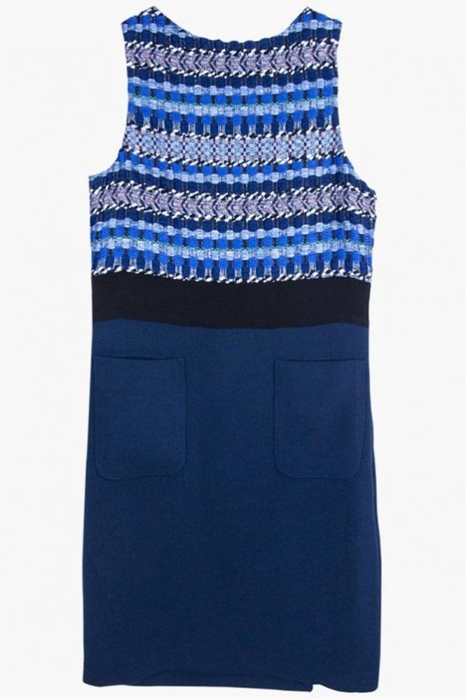 Vilagallo Clementine Kent Blue Jacquard Dress
