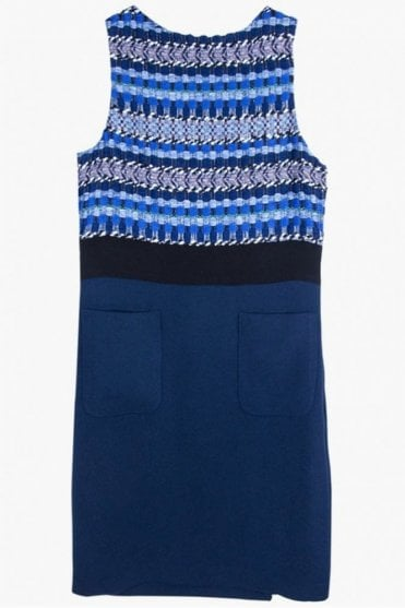 Clementine Kent Blue Jacquard Dress