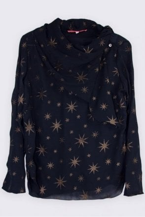 Georgia Black Star Print Blouse
