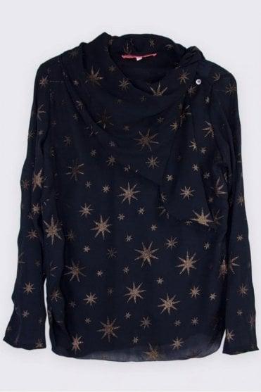 Georgia Black Star Print Blouse