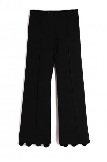 Giullia Fur black Pom Pom Trouser