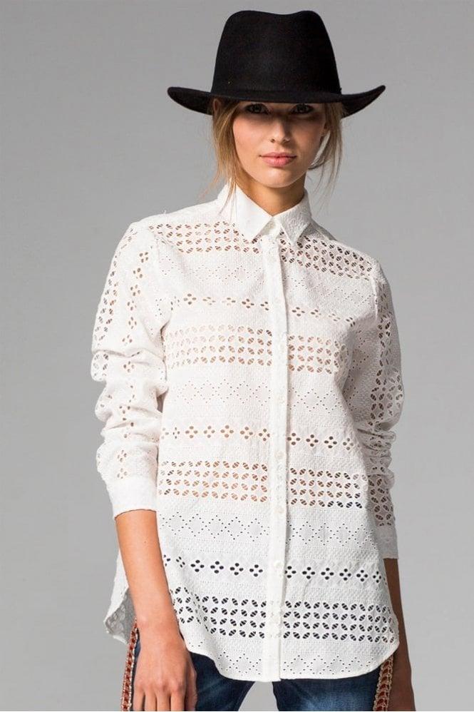 Vilagallo Natasha White Embroidery Shirt