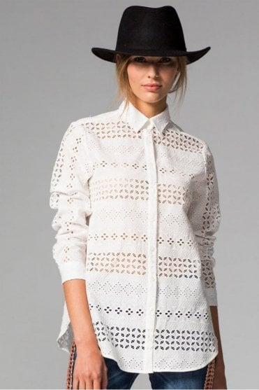 Natasha White Embroidery Shirt