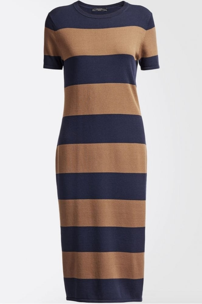 Weekend MaxMara Addi Viscose Knit Dress in Tobacco