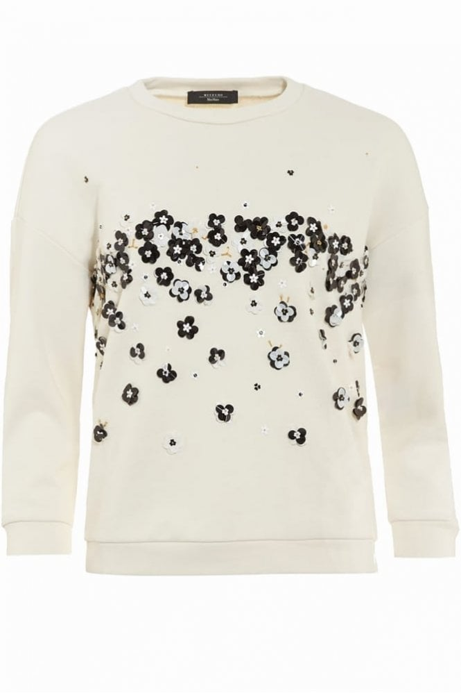 Weekend MaxMara Amato Embellished Sweater in White