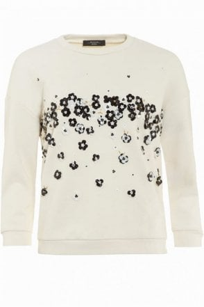 Amato Embellished Sweater in White