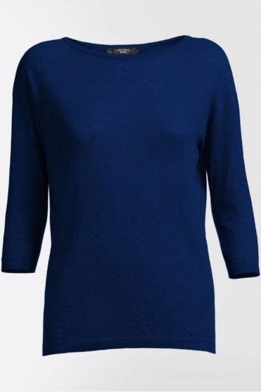 Ancella Pure Cashmere Knit Shirt in Ultramarine