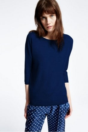 Ancella Pure Cashmere Knit Shirt in Ultramarine