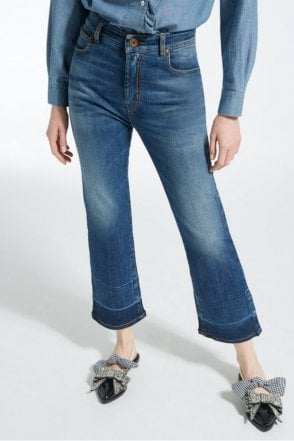 Ario Mid-Rise Cropped Flared Skinny Jeans