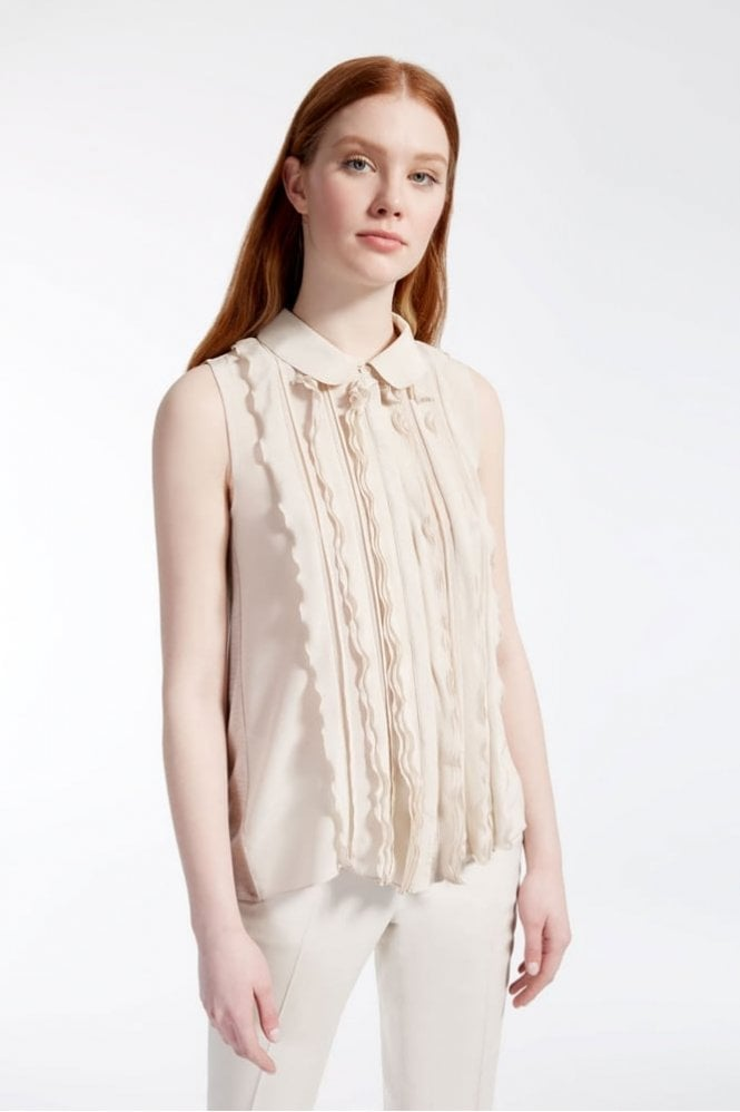 Weekend MaxMara Crêpe de Chine and Jersey Top in Sand