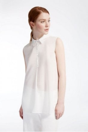 Crêpe de Chine and Jersey Top in White
