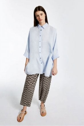 Fiero Pure Linen Shirt in Light Blue