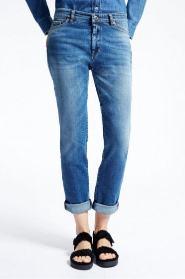 Gio Boy-Fit Jeans in Midnight Blue