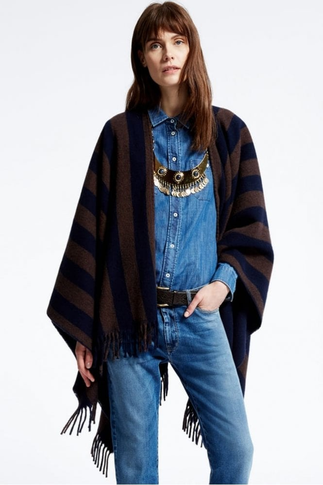 Weekend MaxMara Giunto Reversible Poncho in Navy