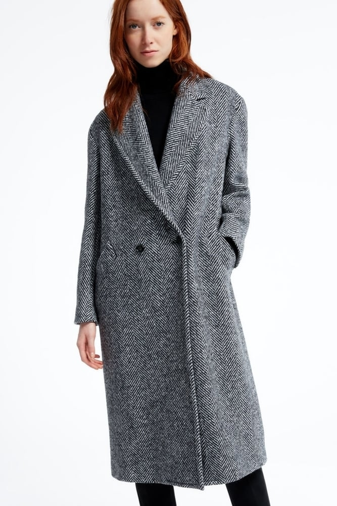 Weekend MaxMara Double Faced Wool Coat, Light Blue/Cream