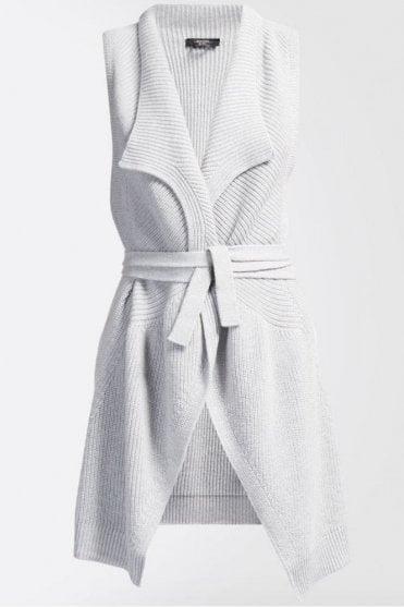 Laura Pure Wool Gilet in Pearl Grey