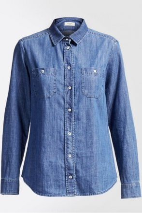 Leslie Cotton Denim Shirt in Midnight Blue
