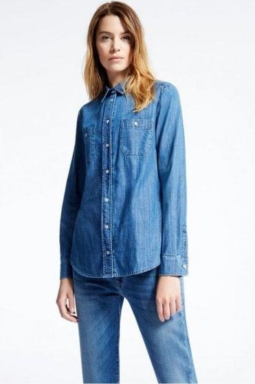 Leslie Cotton Denim Shirt in Midnight Blue