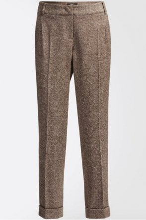 Lontra Silk and Wool Tweed Trousers in Dark Brown