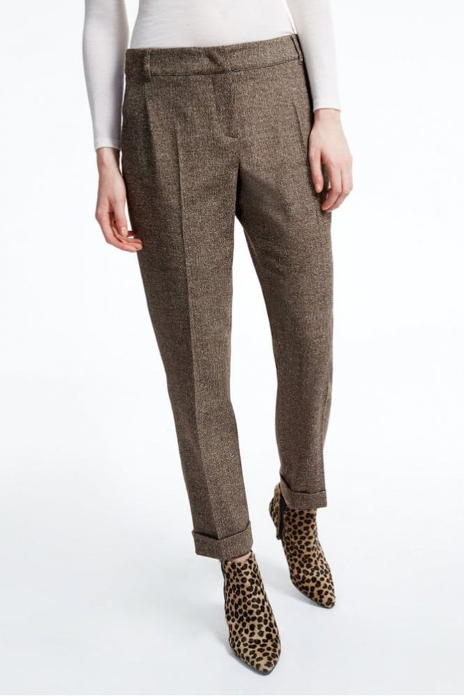 Weekend MaxMara Lontra Silk and Wool Tweed Trousers in Dark Brown