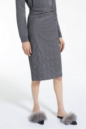 Mazurca Viscose Jersey Skirt in Dark Brown