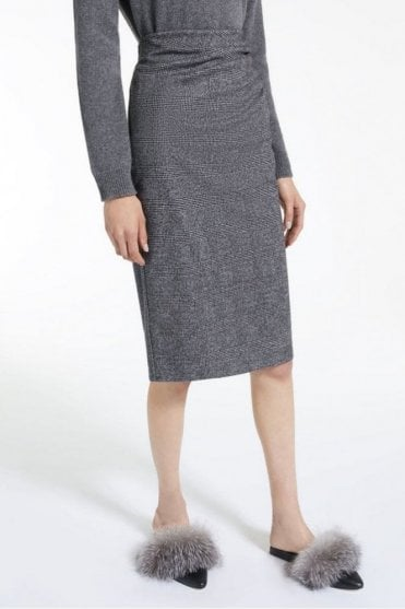 Mazurca Viscose Jersey Skirt in Dark Brown