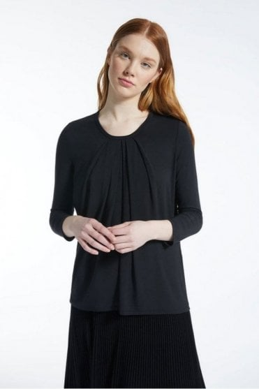 Multic Viscose Jersey Top in Black
