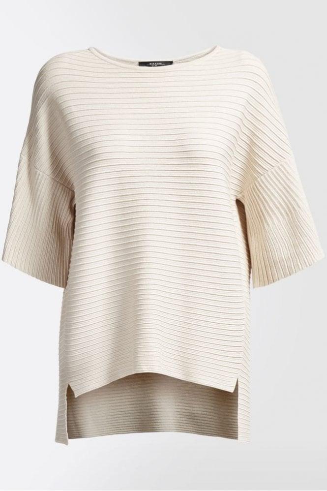 Weekend MaxMara Perla Viscose Ottoman Knit Shirt in Ivory