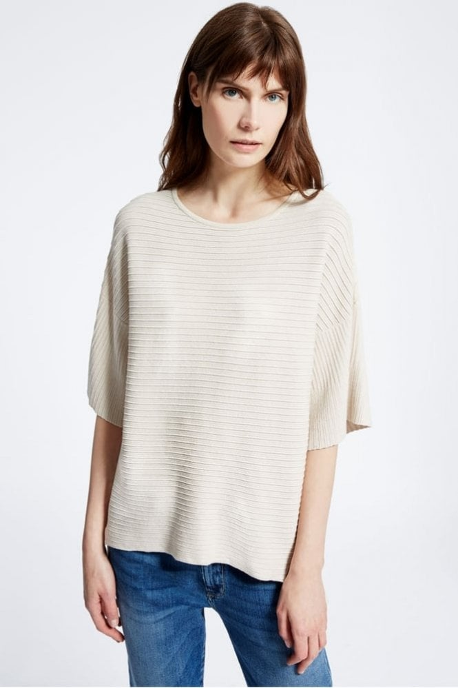 Weekend MaxMara Perla Viscose Ottoman Knit Shirt in Ivory