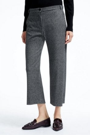 Piero Jacquard Jersey Trousers in Black
